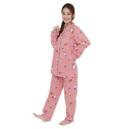 小禮堂 Hello Kitty 襯衫式長袖長褲居家服 純棉睡衣 襯衫居家服 睡衣睡褲 (紅 橫紋)