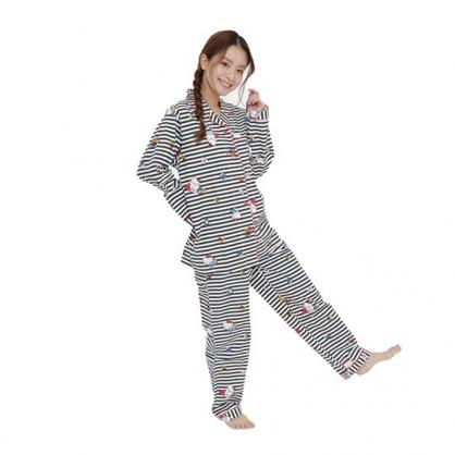 小禮堂 Hello Kitty 襯衫式長袖長褲居家服 純棉睡衣 襯衫居家服 睡衣睡褲 (黑 橫紋)