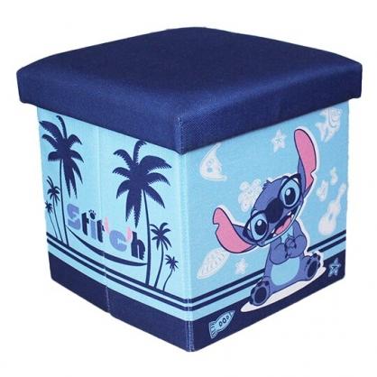 小禮堂 迪士尼 史迪奇 折疊拿蓋收納箱 帆布收納箱 折疊收納箱 玩具箱 雜物箱 (藍 椰樹)