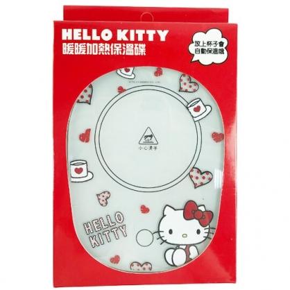 小禮堂 Hello Kitty USB玻璃保溫杯墊 恆溫杯墊 暖暖杯墊 USB杯墊 (紅 愛心)