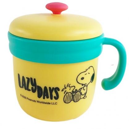 小禮堂 史努比 單耳不鏽鋼杯 附蓋 保溫馬克杯 咖啡杯 保溫杯 260ml (黃 睡覺)