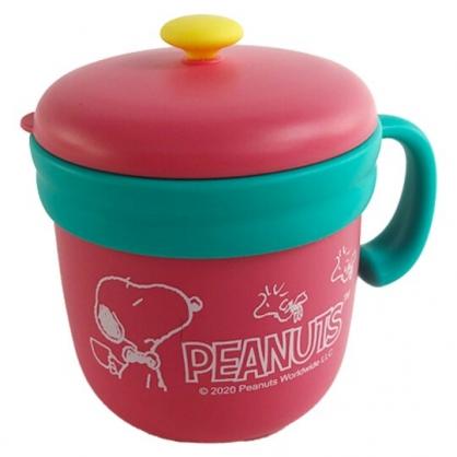 小禮堂 史努比 單耳不鏽鋼杯 附蓋 保溫馬克杯 咖啡杯 保溫杯 260ml (粉 領結)