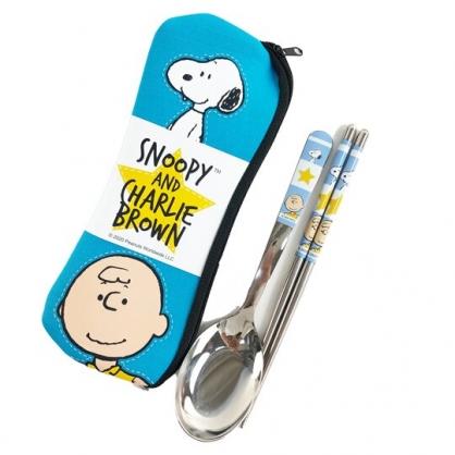 小禮堂 史努比 兩件式不鏽鋼餐具組 附餐具袋 匙筷 兒童餐具 環保餐具 (藍 格圖)