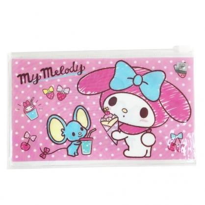 小禮堂 美樂蒂 防水口罩夾鏈袋 透明口罩包 口罩夾 口罩套 (粉 點點)