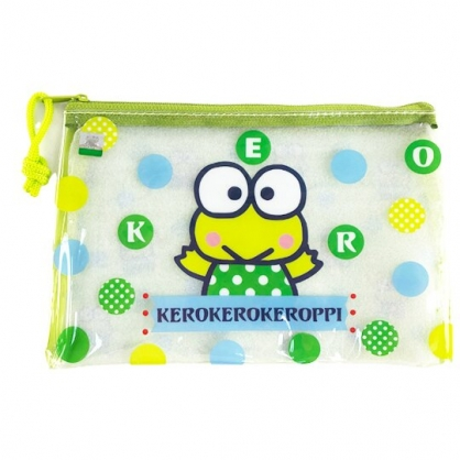小禮堂 大眼蛙 防水扁平收納袋 萬用資料袋 文具袋 鉛筆袋 (綠 點點)