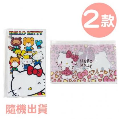 小禮堂 Hello Kitty 防水口罩夾鏈袋 透明口罩包 口罩夾 口罩套 (2款隨機)
