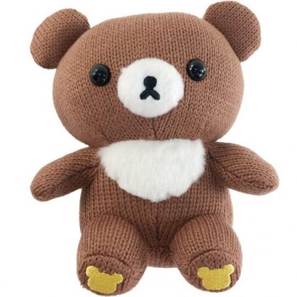小禮堂 懶懶熊 茶小熊 針織玩偶 毛線娃娃 毛線玩偶 小型玩偶 布偶 (S 深棕 坐姿)