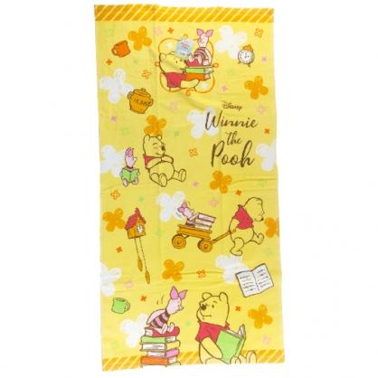 小禮堂 迪士尼 小熊維尼 純棉割絨浴巾 純棉浴巾 身體毛巾 60x120cm (黃 書本)