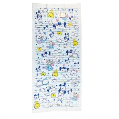 小禮堂 迪士尼 TsumTsum 純棉紗布浴巾 純棉浴巾 身體毛巾 60x120cm (藍 橫紋)