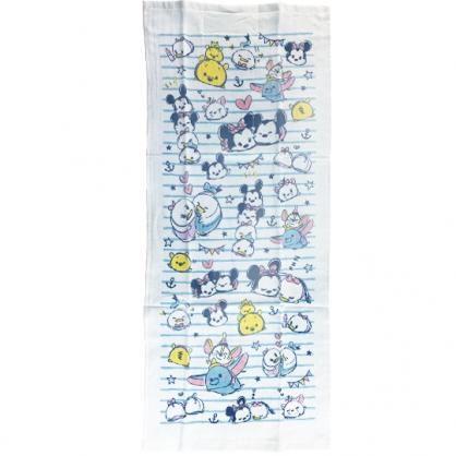 小禮堂 迪士尼 TsumTsum 純棉紗布長毛巾組 純棉毛巾 長巾 紗巾 34x80cm (2入 藍 橫紋)
