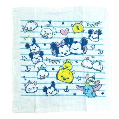 小禮堂 迪士尼 TsumTsum 純棉紗布短毛巾組 純棉毛巾 方形毛巾 紗巾 34x35cm (2入 藍 橫紋)