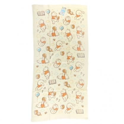 小禮堂 迪士尼 小熊維尼 純棉紗布浴巾 純棉浴巾 身體毛巾 60x120cm (黃 雲朵)