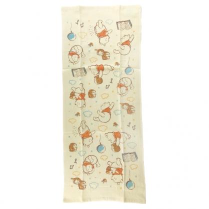 小禮堂 迪士尼 小熊維尼 純棉紗布長毛巾組 純棉毛巾 長巾 紗巾 34x80cm (2入 黃 雲朵)
