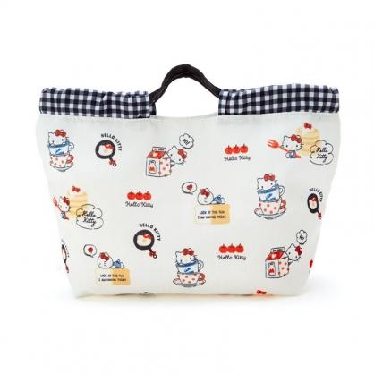 小禮堂 Hello Kitty 棉質束口手提袋 束口便當袋 午餐袋 小物袋 縮口袋 (米 2021新生活)