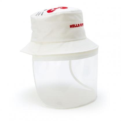 小禮堂 Hello Kitty 兒童折疊帆布帽 透明防塵帽 防護罩帽 漁夫帽 防風帽 (白 防疫對策)
