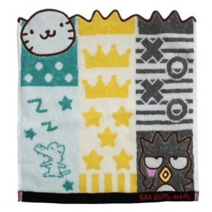 小禮堂 酷企鵝 造型純棉無捻紗短毛巾 純棉毛巾 方形毛巾 丸真毛巾 34x36cm (灰綠 直紋)