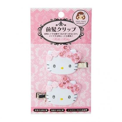 小禮堂 Hello Kitty 造型塑膠鐵髮夾 水鑽髮夾 瀏海夾 小髮夾 (2入 粉 大臉)