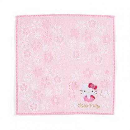 小禮堂 Hello Kitty 純棉割絨方巾 無捻紗方巾 純棉手帕 小毛巾 25x25cm (粉 大和櫻花)
