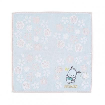 小禮堂 帕恰狗 純棉割絨方巾 無捻紗方巾 純棉手帕 小毛巾 25x25cm (藍 大和櫻花)