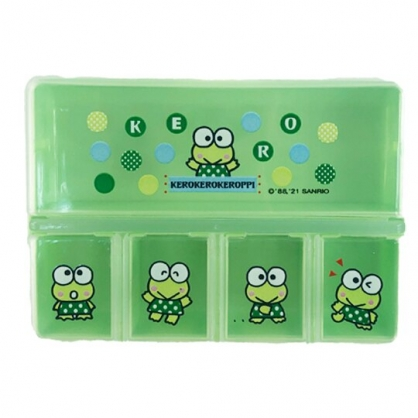 小禮堂 大眼蛙 塑膠方形五格藥盒 隨身藥盒 藥物收納盒 分裝盒 小物盒 (綠 點點)