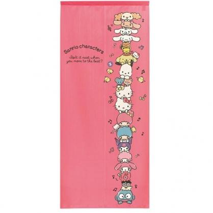 小禮堂 Sanrio大集合 日製 棉麻長門簾 穿桿門簾 擋簾 窗簾 遮光簾 72x170cm (粉 疊高)