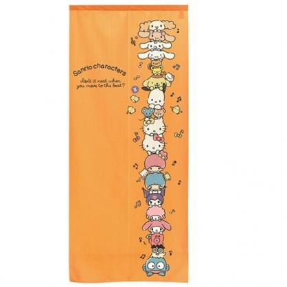 小禮堂 Sanrio大集合 日製 棉麻長門簾 穿桿門簾 擋簾 窗簾 遮光簾 72x170cm (橘 疊高)