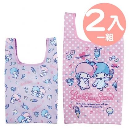 小禮堂 雙子星 折疊尼龍環保購物袋組 環保袋 側背袋 手提袋 (2入 紫 點點)