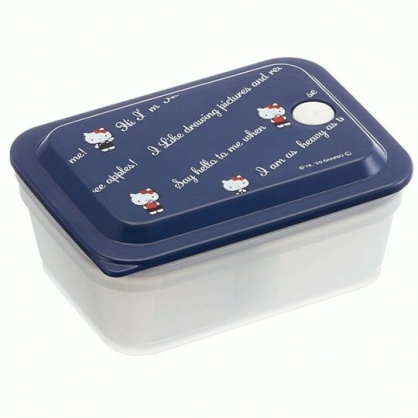 小禮堂 Hello Kitty 日製 方形微波保鮮盒 塑膠保鮮盒 便當盒 450ml Ag+ (藍 文字)