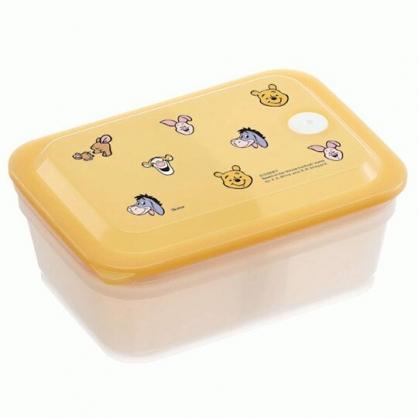 小禮堂 迪士尼 小熊維尼 日製 方形微波保鮮盒 塑膠保鮮盒 便當盒 450ml Ag+ (黃 大臉)