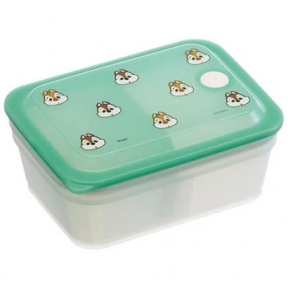 小禮堂 迪士尼 奇奇蒂蒂 日製 方形微波保鮮盒 塑膠保鮮盒 便當盒 450ml Ag+ (綠 大臉)