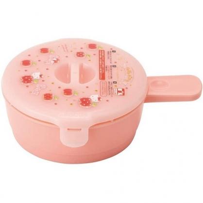 小禮堂 Hello Kitty 日製 單耳荷包蛋蒸煮盒 荷包蛋保鮮盒 微波保鮮盒 210ml (紅 蘋果)