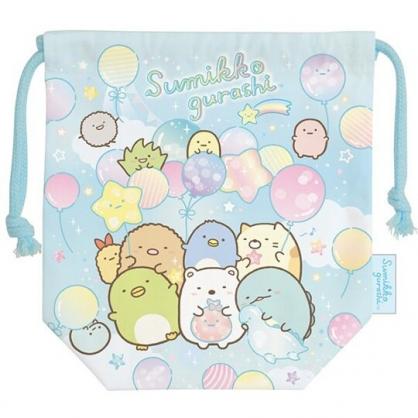 小禮堂 角落生物 日製 棉質束口袋 迷你束口袋 旅行收納袋 小物袋 (藍 汽球)