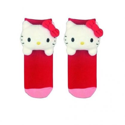 小禮堂 Hello Kitty 成人造型棉質長襪 玩偶襪 中筒襪 保暖襪 腳長22-24cm (紅 大臉)