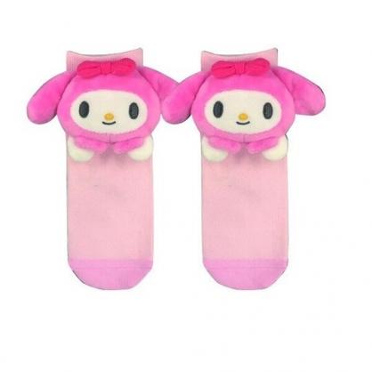小禮堂 美樂蒂 成人造型棉質長襪 玩偶襪 中筒襪 保暖襪 腳長22-24cm (粉 大臉)
