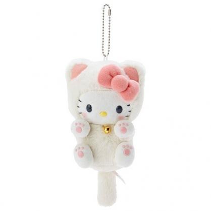 小禮堂 Hello Kitty 貓咪絨毛吊飾 貓咪吊飾 玩偶吊飾 玩偶鑰匙圈 包包吊飾 (米)