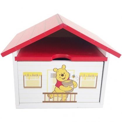 小禮堂 迪士尼 小熊維尼 屋型木質單抽收納盒 木抽屜盒 文具盒 飾品盒 小物盒 可堆疊 (紅)