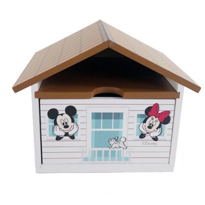 小禮堂 迪士尼 米奇米妮 屋型木質單抽收納盒 木抽屜盒 文具盒 飾品盒 小物盒 可堆疊 (棕)