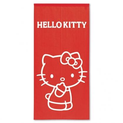 小禮堂 Hello Kitty 日製 棉麻長門簾 穿桿門簾 擋簾 窗簾 遮光簾 72x150cm (紅 側站)