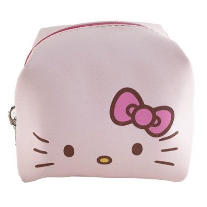 小禮堂 Hello Kitty 迷你方形皮質化妝包 皮質零錢包 掛飾零錢包 小物包 (粉 大臉)