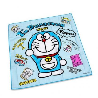 小禮堂 哆啦A夢 日製 純棉紗布便當包巾 餐巾 手帕 桌巾 桌墊 43x43cm (藍 微笑)