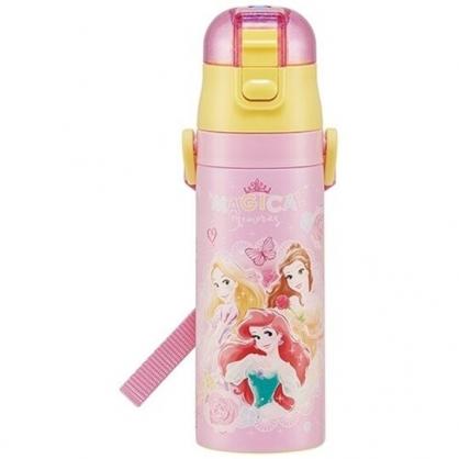 小禮堂 迪士尼 公主 彈蓋直飲不鏽鋼保溫瓶 超輕量不鏽鋼水壺 附背帶 保冷 470ml (粉)