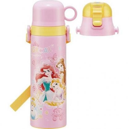 小禮堂 迪士尼 公主 兩用不鏽鋼保溫瓶 超輕量不鏽鋼水壺 附背帶 保溫保冷 580ml (粉黃)
