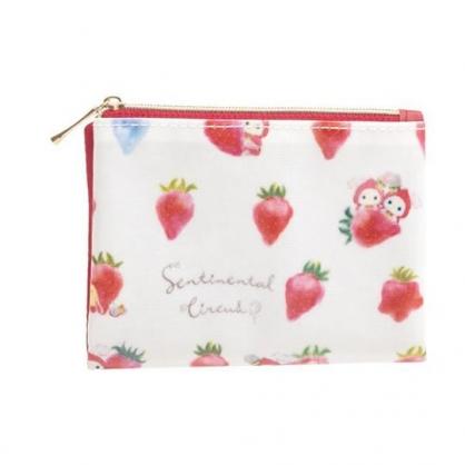 小禮堂 憂傷馬戲團 防水扣式面紙零錢包 附面紙 面紙包 口罩包 小物包 (白 草莓)