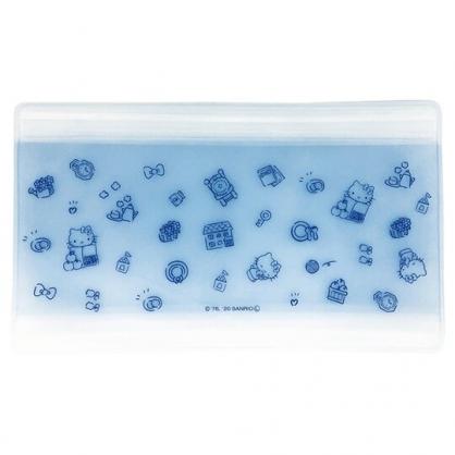 小禮堂 Hello Kitty 日製 防水口罩夾鏈袋 透明口罩包 口罩夾 口罩套 (藍 滿版)