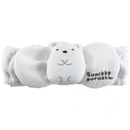 小禮堂 角落生物 北極熊 玩偶造型鬆緊束髮帶 絨毛髮帶 洗臉髮帶 髮箍 (白)