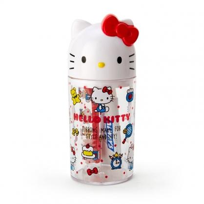小禮堂 Hello Kitty 造型蓋牙刷杯組 旅行牙刷杯 攜帶型牙刷組 折疊牙刷 120ml (紅白 大臉)