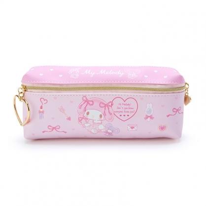 小禮堂 美樂蒂 方形皮質雙拉鍊筆袋 雙面筆袋 鉛筆盒 (粉 化妝品)
