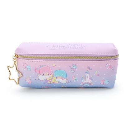 小禮堂 雙子星 方形皮質雙拉鍊筆袋 雙面筆袋 鉛筆盒 (粉紫 城堡)