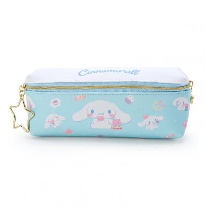 小禮堂 大耳狗 方形皮質雙拉鍊筆袋 雙面筆袋 鉛筆盒 (藍白 甜點)