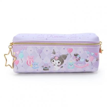 小禮堂 酷洛米 方形皮質雙拉鍊筆袋 雙面筆袋 鉛筆盒 (紫 菱格紋)